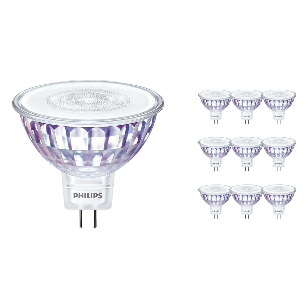 Multipack 10x Philips LEDspot VLE GU5.3 MR16 7W 830 36D (MASTER)   Warm White - Dimmable - Replaces 50W