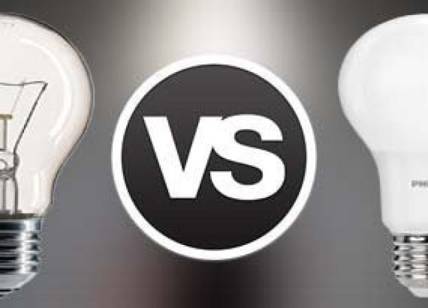 LED lamp vs incandescent light bulb