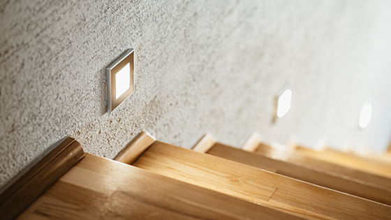 LED spotlights used by the stairs