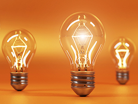 E27 bulbs on an orange background